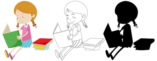 Girl reading book in colour and outline and silhouette Free Vector