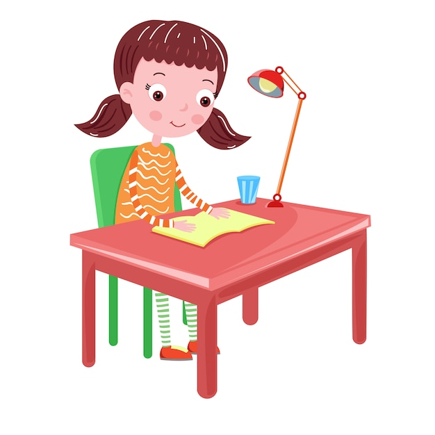 Premium Vector Girl Reading A Book On The Table Illustration