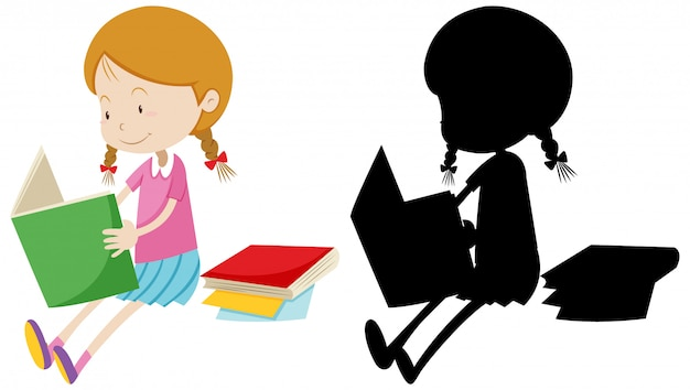 Girl reading the book with its silhouette Free Vector