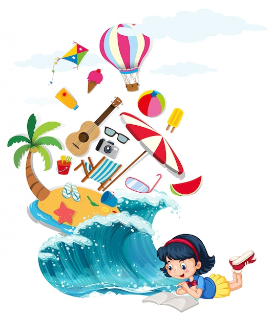 Girl reading book with summer theme Free Vector