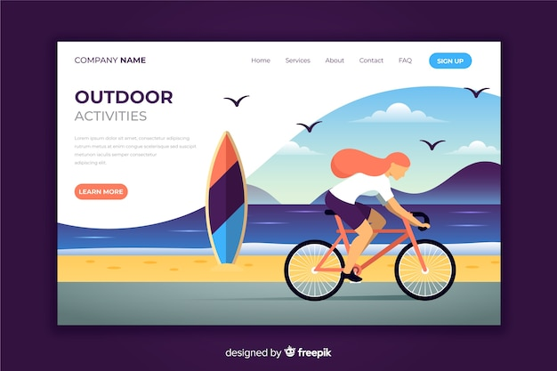 Girl riding a bike landing page Free Vector