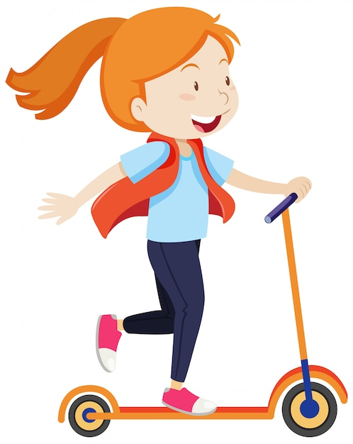 A girl riding on scooter with happy mood cartoon style isolated Free Vector