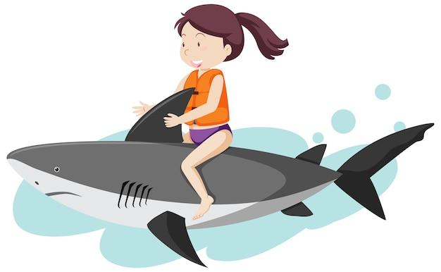 Ragazza cavalcando stile cartone animato squalo isolato su priorità bassa bianca Vettore gratuito