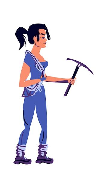 Scalatore di roccia della ragazza in attrezzatura sportiva con un piccone nelle mani, illustrazione di vettore del fumetto isolata Vettore gratuito