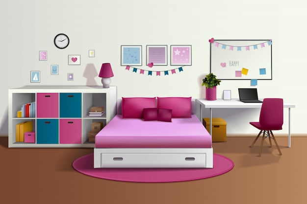 Girl room realistic interior with pink bed chair bookshelf photo frames desk Free Vector