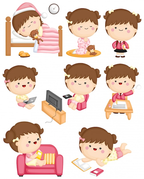 Girl routine activity Premium Vector
