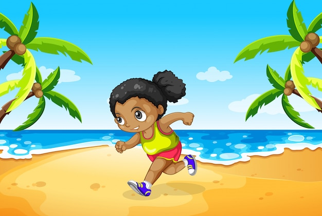 A girl running at the beach Premium Vector