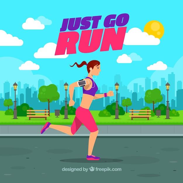Girl running near the park