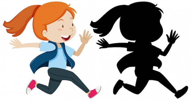 Girl running with its silhouette Free Vector