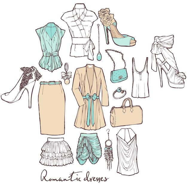 Girl's clothes set Free Vector