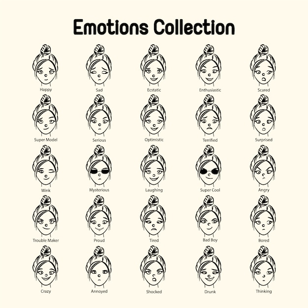 Girl\'s face emotions collection