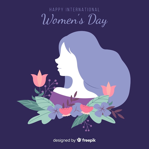 Girl's silhouette with flowers women's day background Free Vector