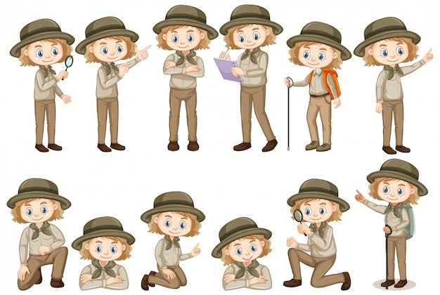 Girl in safari outfit doing different things Free Vector
