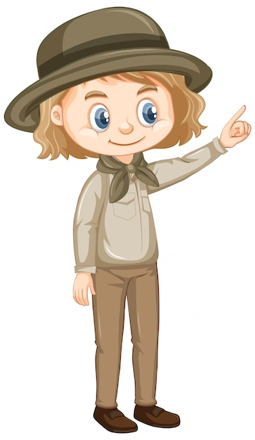 Girl in safari outfit on white Free Vector