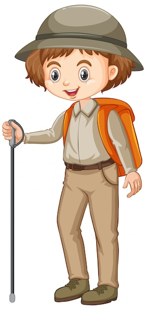 Girl in safari outfit with hiking stick and backpack Free Vector