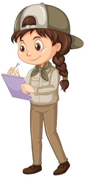 Girl in safari uniform on isolated Free Vector