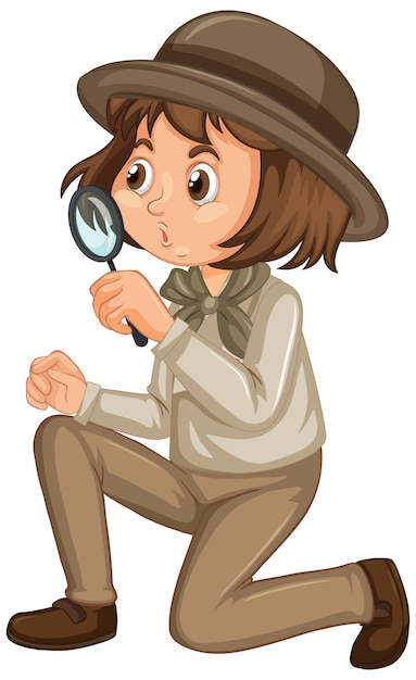 Girl in safari uniform isolated Free Vector