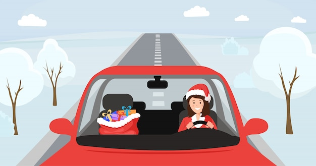 Girl in santa hat driving illustration. woman in christmas costume sitting at front seat of automobile with big bag with presents. female driver character in festive x-mas clothing, winter snowy road Premium Vector