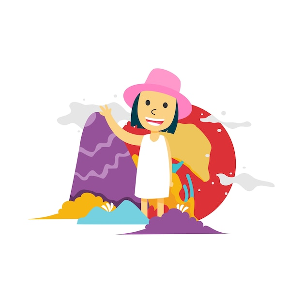 A girl say hello with colorful background Premium Vector