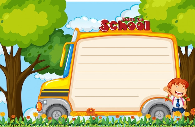 Girl on school bus note Free Vector