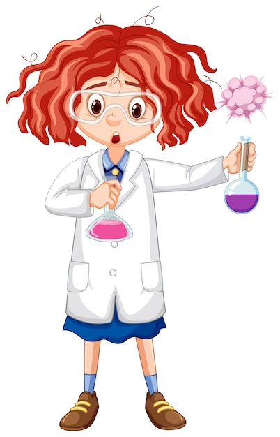 Girl in science gown holding test tubes Premium Vector