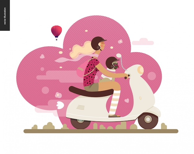 Girl on a scooter Premium Vector