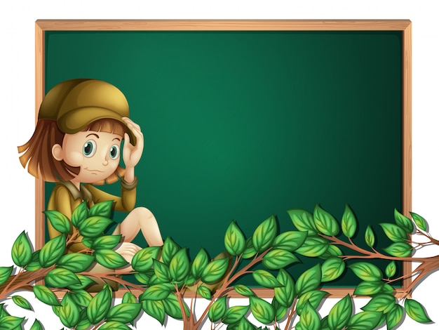A girl scout on blackboard template Premium Vector
