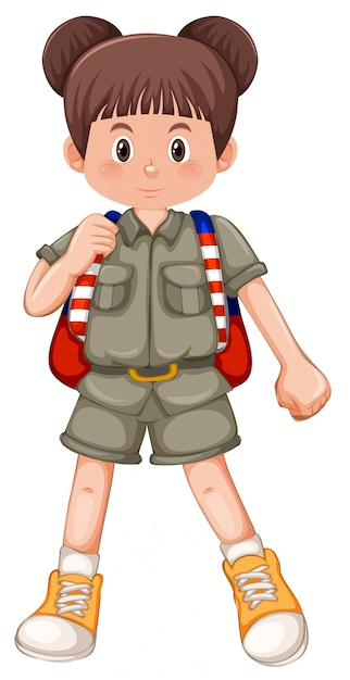 A girl scout character Premium Vector