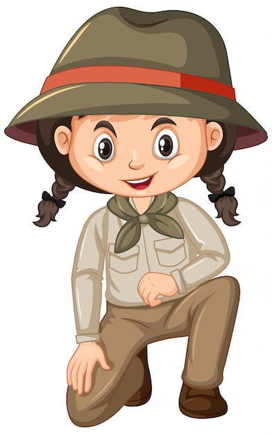 Girl in scout uniform sitting on white Premium Vector