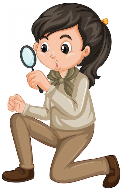 Girl in scout uniform with magnifying glass on white Free Vector