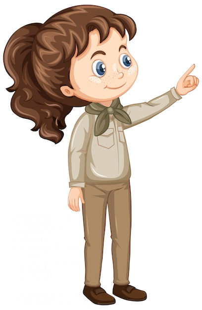 Girl in scout uniform Free Vector