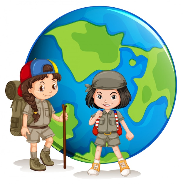 Girl scouts ready for hiking Premium Vector