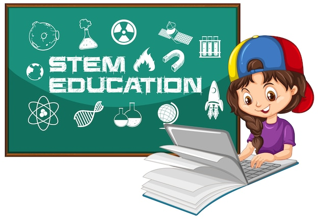 Girl searching on laptop with stem education text cartoon style isolated on white Free Vector
