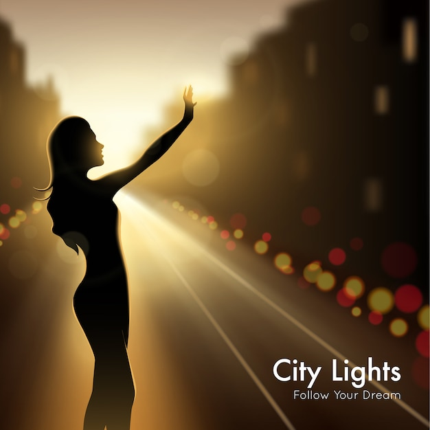 Girl silhouette in city lights Free Vector