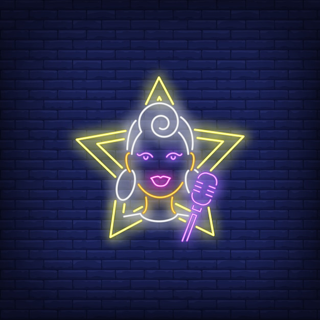 Girl singer neon sign Free Vector
