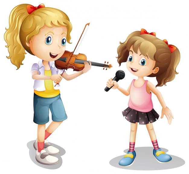 Girl singing and girl playing violin Premium Vector