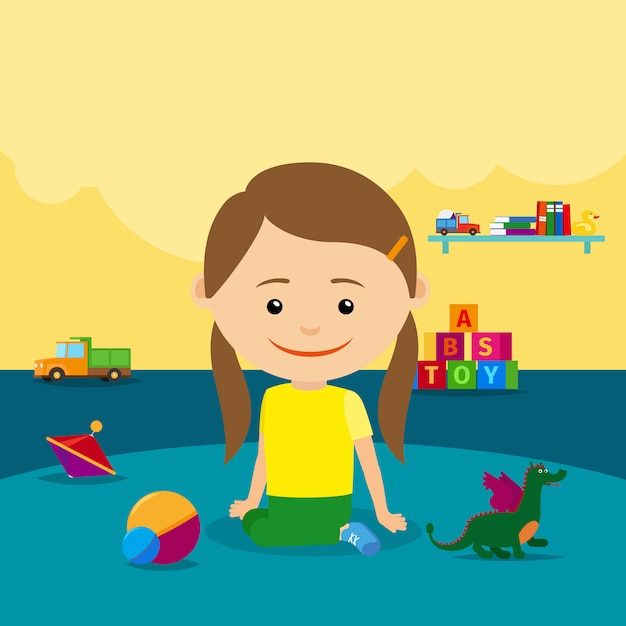 Девочка сидит на полу с игрушками Premium векторы