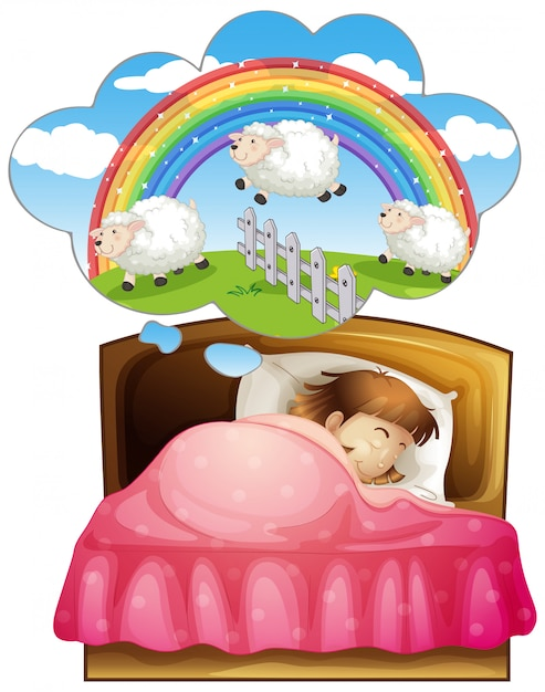 Girl sleeping and counting sheeps in dream Free Vector