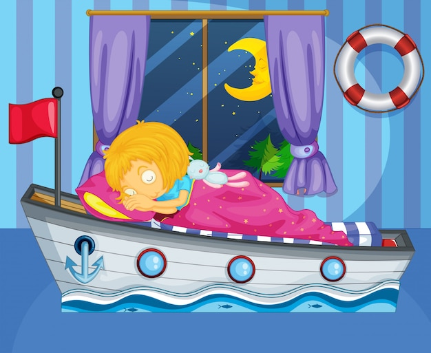A girl sleeping on her boat-like bed Premium Vector