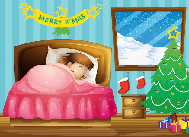 A girl sleeping in her room with a christmas tree Free Vector