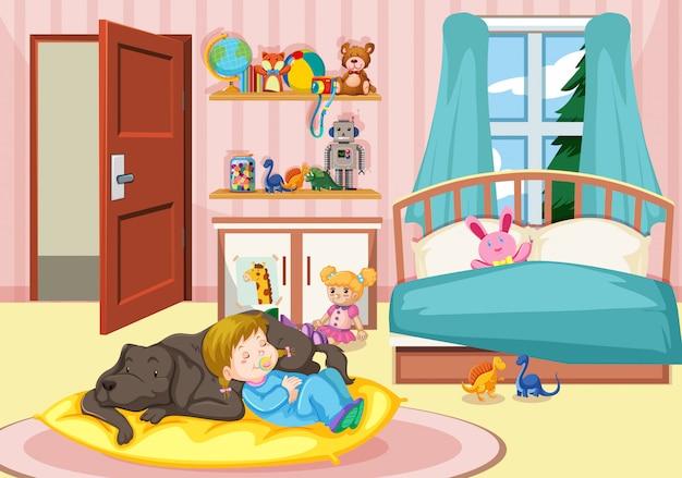 Girl sleeping with dog in bedroom Free Vector