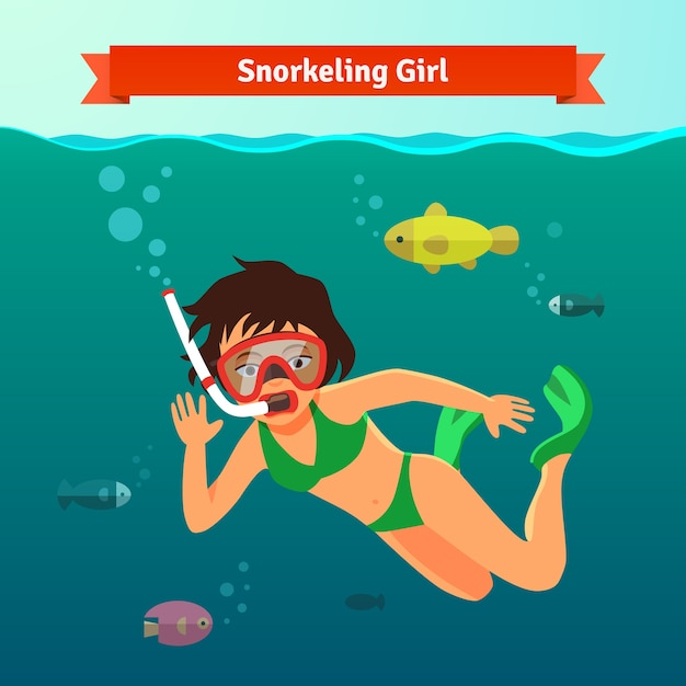 Girl snorkelling in the sea with fishes Free Vector
