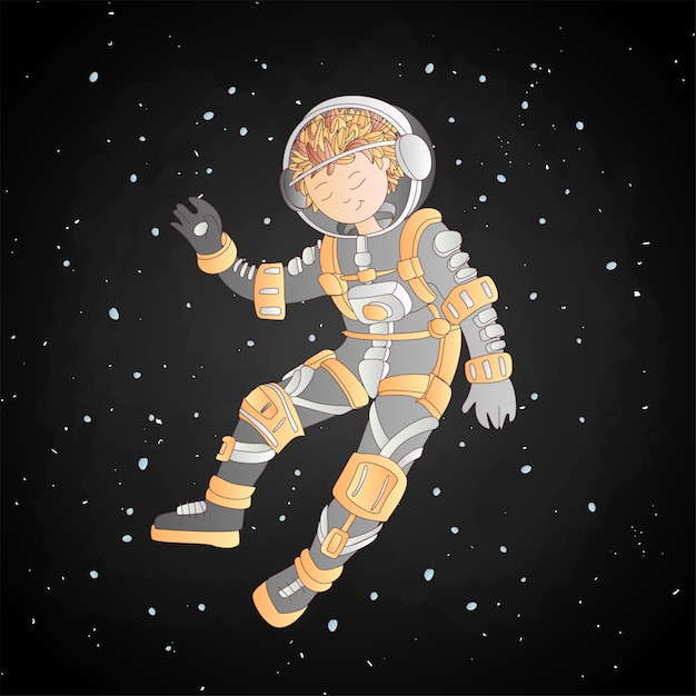 Girl In Space Helmet And Astronaut Costume Floating Among Stars