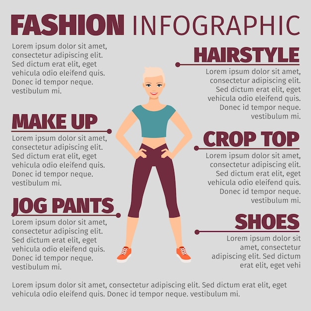 Girl in sports suit fashion infographic Premium Vector
