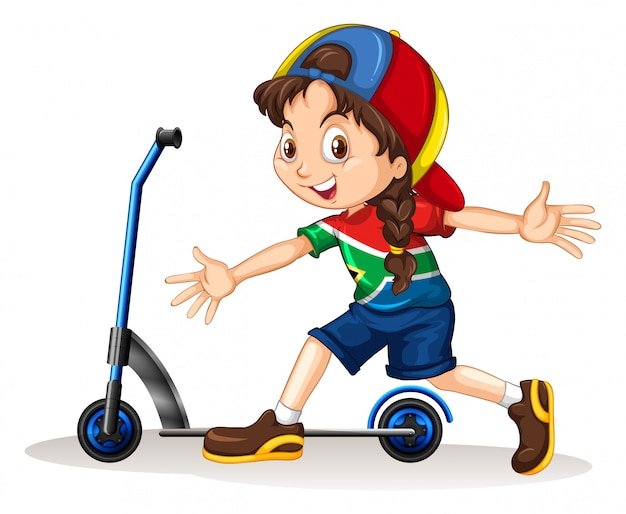 Girl standing next to scooter Free Vector