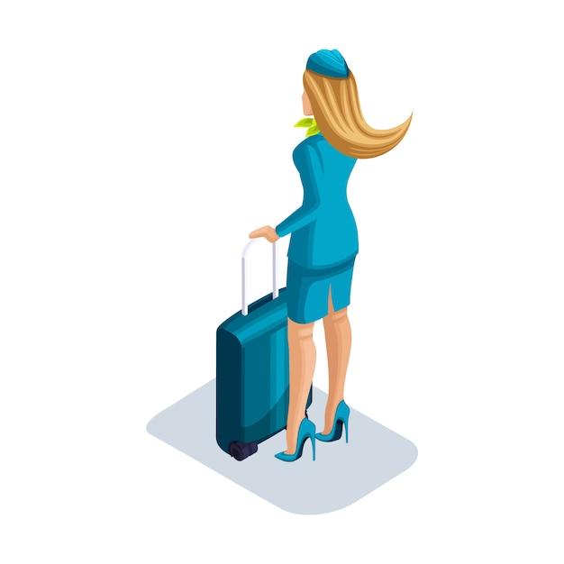 Девушка-стюардесса с вещами и чемоданом стоит в аэропорту, ожидая ее вылета. вид сзади, форменная обувь Premium векторы