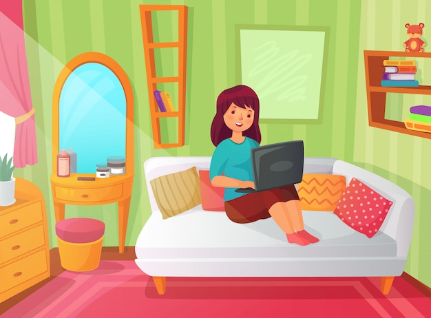Premium Vector Girl Student Bedroom Teenager Apartment Room Online Study At Home And Woman Student Reading On Laptop Computer Cartoon Illustration