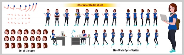 Girl student character design model sheet with walk cycle animation. girl character design. front, s