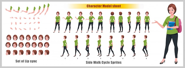 Girl Student Character Model Sheet With Walk Cycle Animations And Lip Syncing