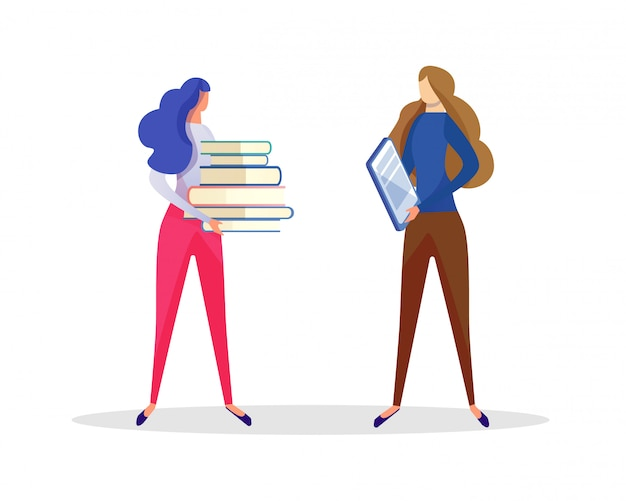 Girl student communicating with teacher. education Premium Vector